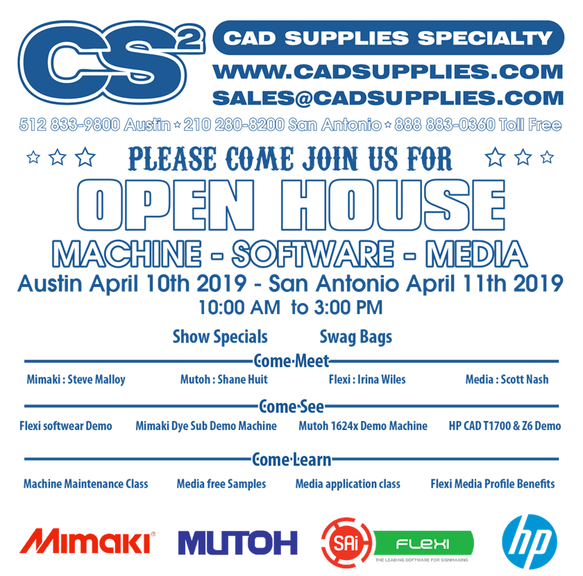 Please come join us for our open house. Machine - Software - Media Austin April 10th 2019 San Antonio April 11th 2019 10:00 AM to 3:00 PM Show Specials - Swag Bags